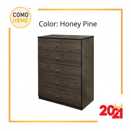 Como Home Chest Drawer 5 layer with Lock (5D-900) Laci Baju Drawer Cabinet Storage Bedroom (Included Installation)