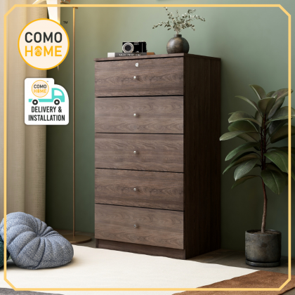 Como Home Chest Drawer 5 layer with Lock (5D-600) Laci Baju Drawer Cabinet Storage Bedroom (Included Installation)
