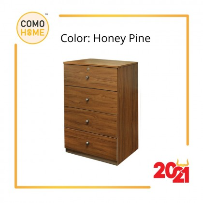 Como Home Chest Drawer 4 layer with Lock (4D-600) Laci Baju Drawer Cabinet Storage Bedroom (Included Installation)