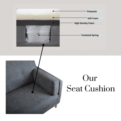 Como Home Mina 3 Seater Fabric Sofa Minimalist Design | Water Repellent Fabric | Ready Stock (Our Logistic Delivery)