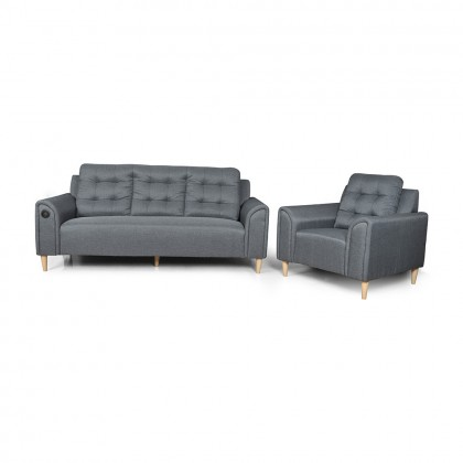 Como Home Jenn 1+3 Seater Fabric Sofa (S3145)   Water Repellent Fabric   Ready Stock (Own Logistic Delivery)
