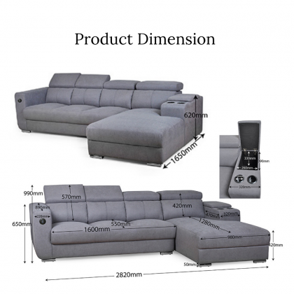Como Home Modern L-Shape 4 Seater Fabric Sofa (S7128) Adjustable Headrest (Delivery with own Logistic)