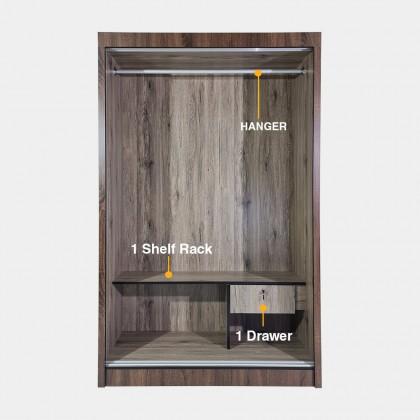 4ft Sliding Door Wardrobe (RH1200-1317) Aluminium Frame Anti-Jump System Almari Baju Sliding (Fully Assembled)