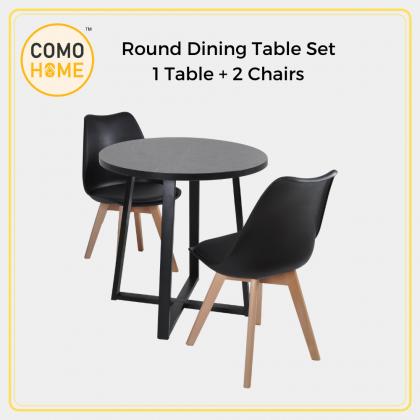 Bundle Set Round Dining Table set with Chair (DT0.75R + E85) Set Meja Makan Bulat Suitable for SOHO / Studio Unit