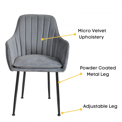 Como Home Chair for Dressing | Dining | Study (336) Micro Velvet Upholstery