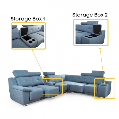 11ft Corner Fabric Sofa 6 Seater (2528-7L) Adjustable Headrest | Pull Out Seat (Delivery with own Logistic)