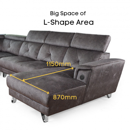 11ft Corner Fabric Sofa 6 Seater L-Shape (S7124-C) Micro Velvet | Adjustable Headrest (Delivery with own Logistic)